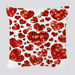 valentines day heart Woven Throw Pillow