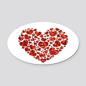 valentines day heart Oval Car Magnet