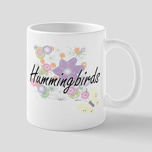 Hummingbirds artistic design with flowers Mugs