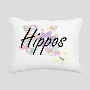 Hippos artistic design w Rectangular Canvas Pillow