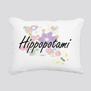 Hippopotami artistic des Rectangular Canvas Pillow