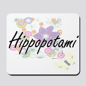 Hippopotami artistic design with flowers Mousepad