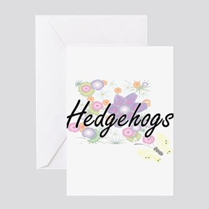 Hedgehogs artistic design with flow Greeting Cards