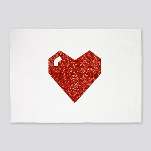 pixel valentines day heart 5'x7'Area Rug