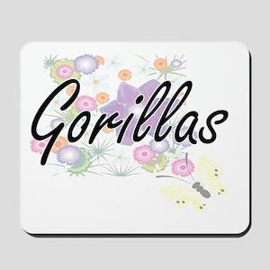 Gorillas artistic design with flowers Mousepad