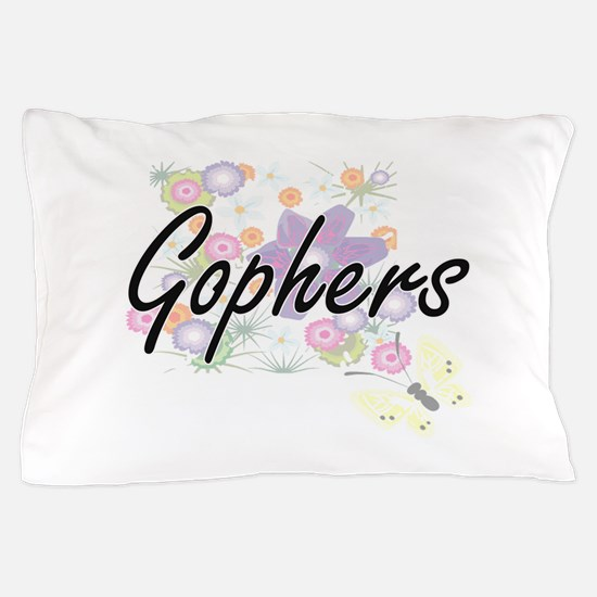 Gophers artistic design with flowers Pillow Case