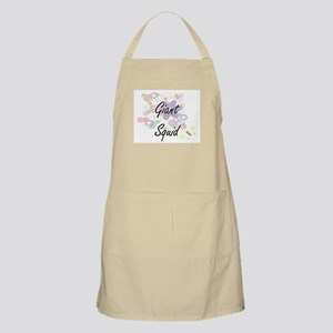 Giant Squid artistic design with flowers Apron