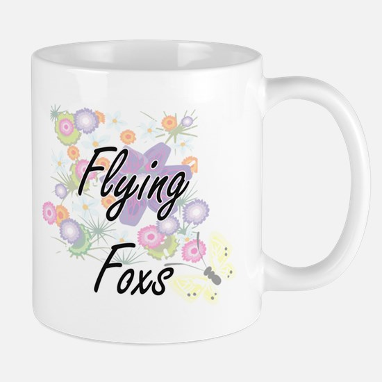 Flying Foxs artistic design with flowers Mugs