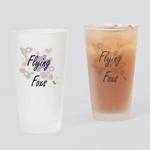 Flying Foxs artistic design with fl Drinking Glass