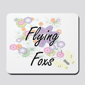 Flying Foxs artistic design with flowers Mousepad