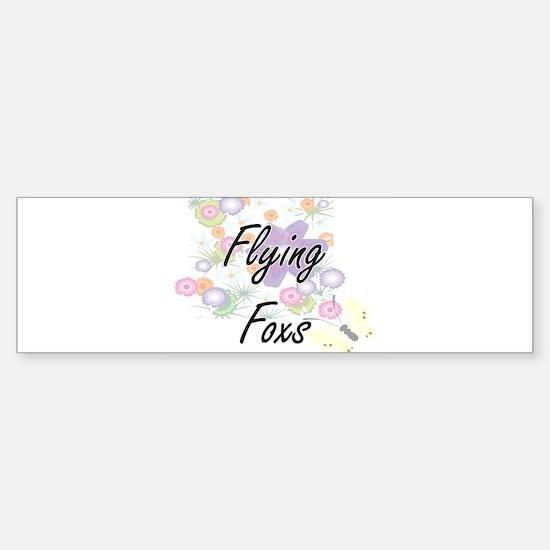 Flying Foxs artistic design with fl Bumper Bumper Bumper Sticker