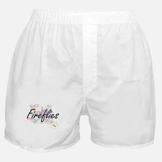 Fireflies artistic design with flower Boxer Shorts