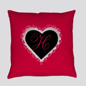 Lace Heart Monogram Everyday Pillow
