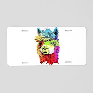 Color Me Alpaca Aluminum License Plate
