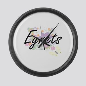 Egrets artistic design with flowe Large Wall Clock