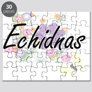 Echidnas artistic design with flowers Puzzle