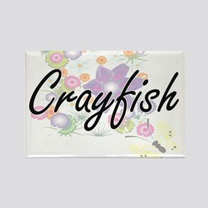 Crayfish artistic design with flowers Magnets
