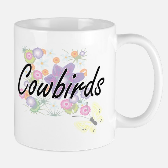 Cowbirds artistic design with flowers Mugs
