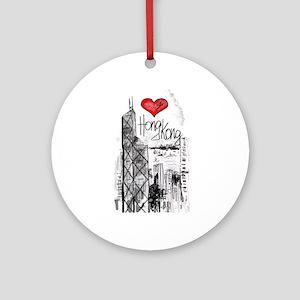 I love Hong Kong Round Ornament