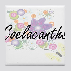 Coelacanths artistic design with flow Tile Coaster