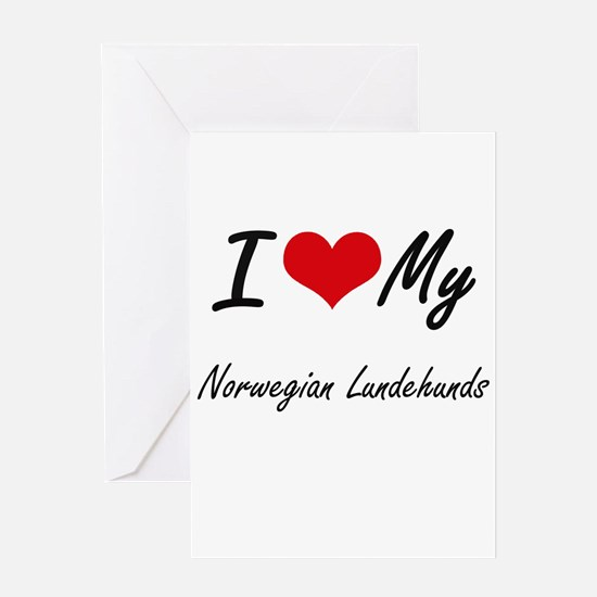 I Love my Norwegian Lundehunds Greeting Cards