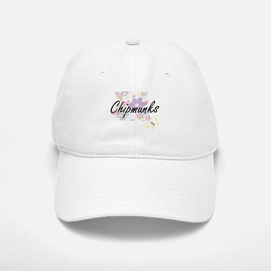 Chipmunks artistic design with flowers Baseball Baseball Cap