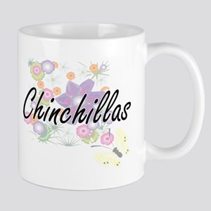 Chinchillas artistic design with flowers Mugs