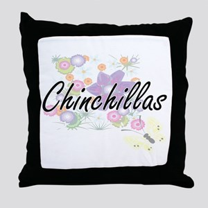 Chinchillas artistic design with flow Throw Pillow