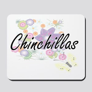 Chinchillas artistic design with flowers Mousepad