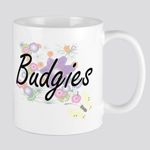 Budgies artistic design with flowers Mugs