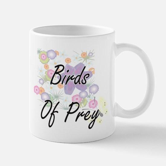 Birds Of Prey artistic design with flowers Mugs