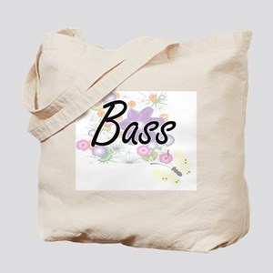 Bass artistic design with flowers Tote Bag