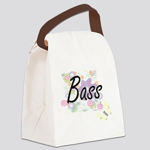 Bass artistic design with flowers Canvas Lunch Bag