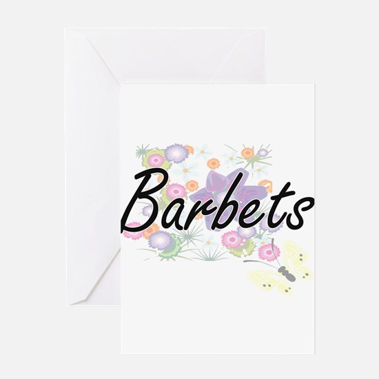 Barbets artistic design with flower Greeting Cards
