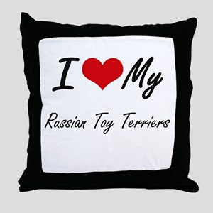 I Love my Russian Toy Terriers Throw Pillow