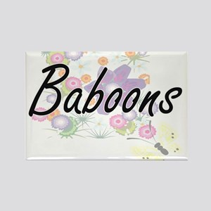 Baboons artistic design with flowers Magnets