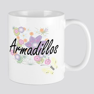 Armadillos artistic design with flowers Mugs