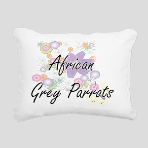 African Grey Parrots art Rectangular Canvas Pillow