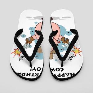 Happy Birthday Cowboy Flip Flops