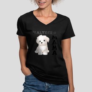MALTESE MAMA Women's V-Neck Dark T-Shirt
