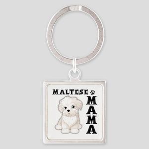 MALTESE MAMA Square Keychain