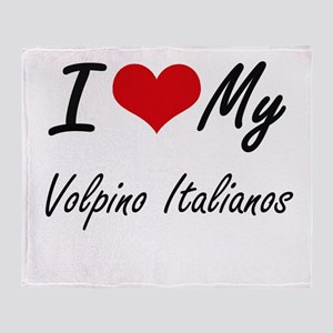 I Love my Volpino Italianos Throw Blanket