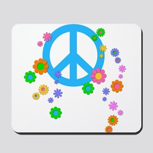 Peace sign and Flowers Mousepad