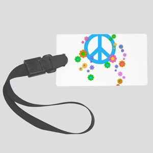 Peace sign and Flowers Large Luggage Tag