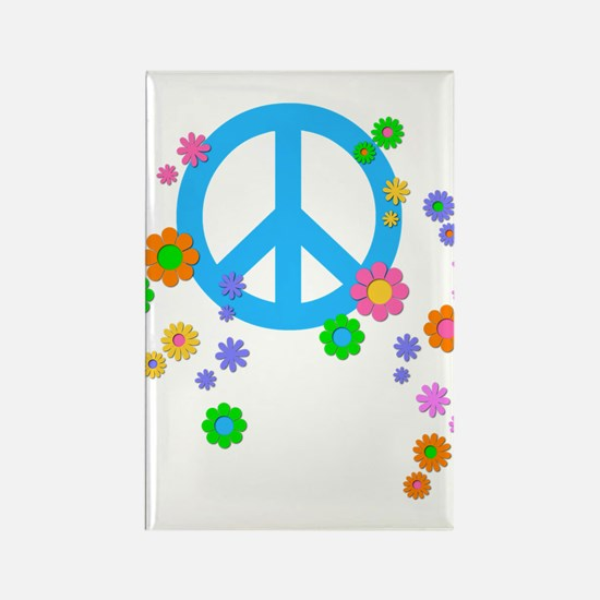 Peace Sign And Flowers Rectangle Magnet Magnets