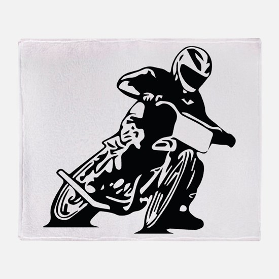 Flat Track One Black Bike Throw Blanket