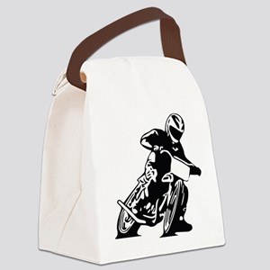 Flat Track One Black Bike Canvas Lunch Bag