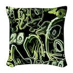 Green 420 Graffiti Collage Woven Throw Pillow