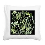 Green 420 Graffiti Collage Square Canvas Pillow