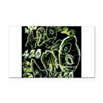 Green 420 Graffiti Collage Rectangle Car Magnet